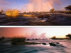 056_LZmS_173+168 PAIR Dawn & Dusk above Victoria Falls
